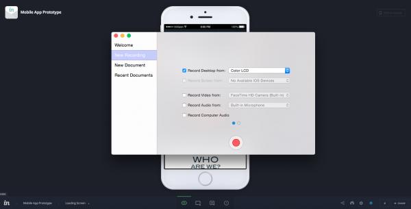 Recording settings using ScreenFlow