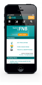 FNB Responsive Mobile view
