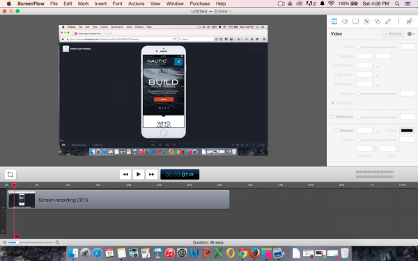Recorded video in ScreenFlow