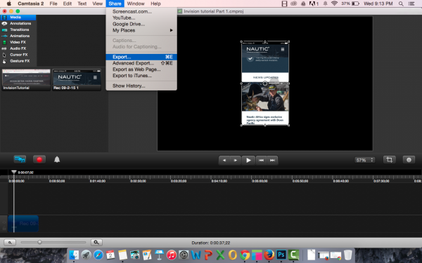 Export as a video file in Camtasia
