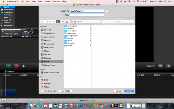 Saving as video from Camtasia