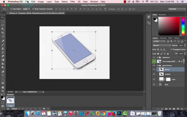 Iphone template in Photoshop